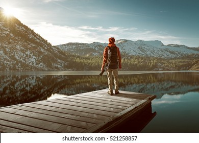 Hiker on a jetty