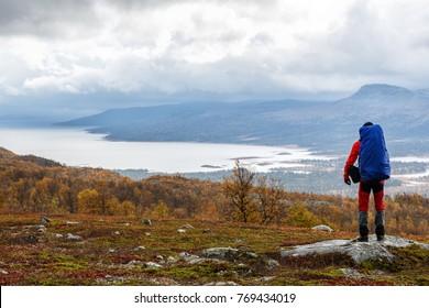 Hiker on the Kungsleden - Sarek Nationalpark in autumn