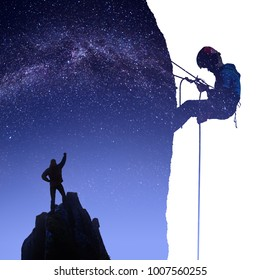 The hiker on a mountain top under the starry night sky with climber silhouette on a cliff. Double exposure effect photography. Mixed media.