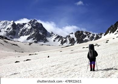 Hiker on snow plateau at spring mountain. Turkey, Kachkar (highest part of Pontic Mountains).
