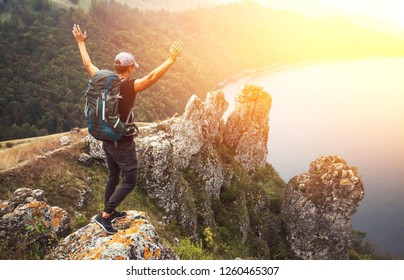 Hiker on a top of canyon