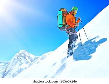 Hiker on the trek in Himalayas