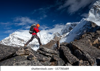 Hiker on the trek in Himalayas, Khumbu valley, Nepal