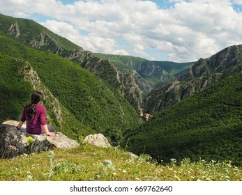 Hiker overlooking a gorge