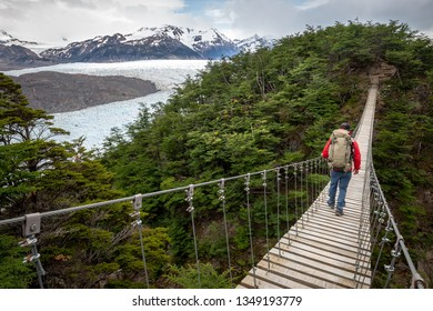 A hiker passes through beautiful forests and glaciers in the Torres del Paine trek in Patagonia, Chile
