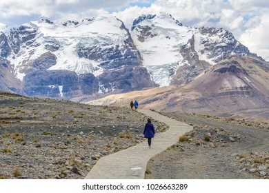 Hiker in Pastoruri glacier, Huascaran National Park, Peru