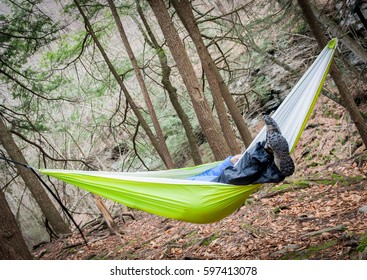 A hiker relaxing in the woods on a hammock