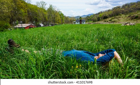 Hiker rests outside Damascus, Virginia.