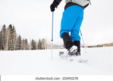 Hiker Snowshoeing on Open Terrain
