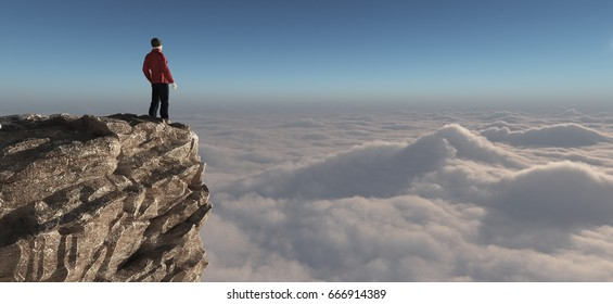 Hiker standing on top of a mountain. This is a 3d render illustration.