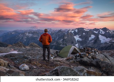 Hiker at sunset in North Cascades National Park