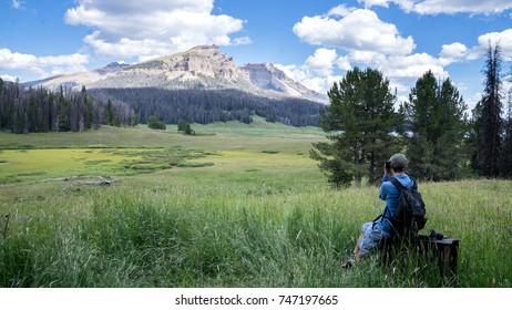 Hiker takes picture of Brooks Lake Creek Fall, Wyoming
