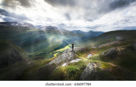 Hiker taking in the amazing landscape