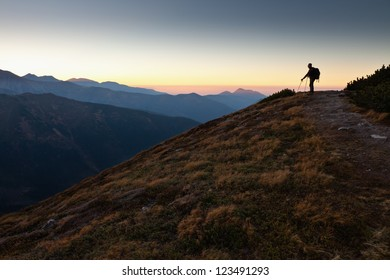 Hiker in Tatra Mountains, Poland. View from Ornak Peak