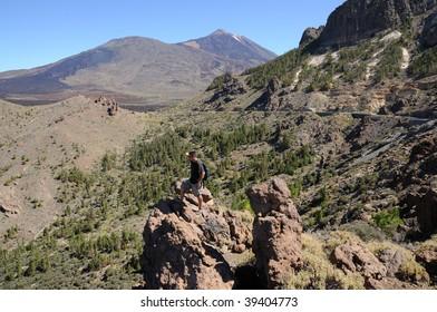 Hiker in Teide National Park, Canary Island Tenerife, Spain