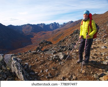 Hiker in Tombstone territorial park, Yukon, Canada