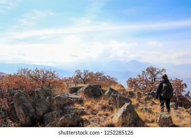 A hiker top ion the Ali Mountain, Kayseri Turkey.