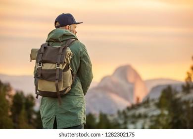 Hiker visit Yosemite national park in California