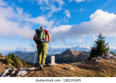 Hiker walk on the way