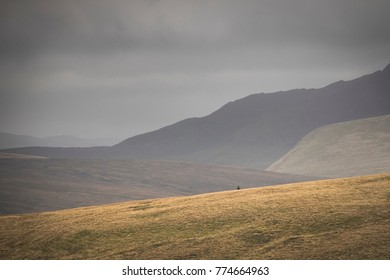Hiker walking and felling small and humble inbetween the fells of the Lake district England