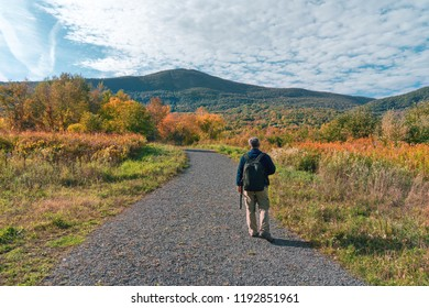 a hiker walking towards Mount Greylock with early fall color