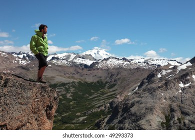 A hiker walks through the wilderness of Patagonia.