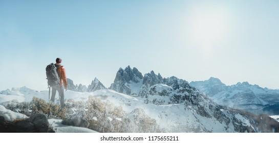 Hiker in winter landscape