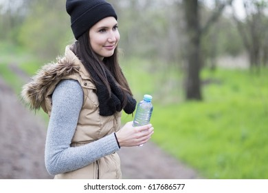 Hiker woman with fresh water