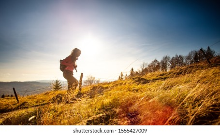 Hiker young woman with backpack rises to the mountain top on mountains landscape background