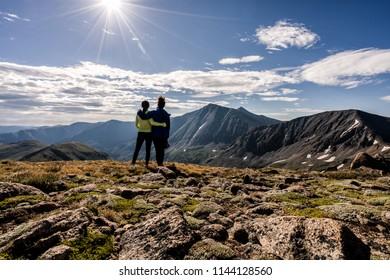 Hikers atop Cupid Peak, Colorado Rocky Mountains