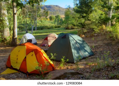 Hiker's camp in morning forest in mountains. Shot in Cederberg Mountains, Western Cape, South Africa.