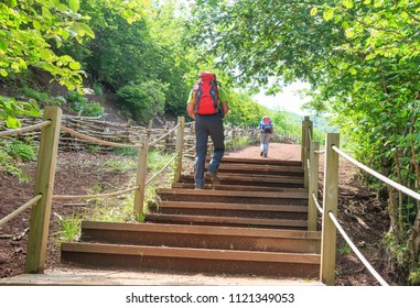 hikers climbing a wooden staircase