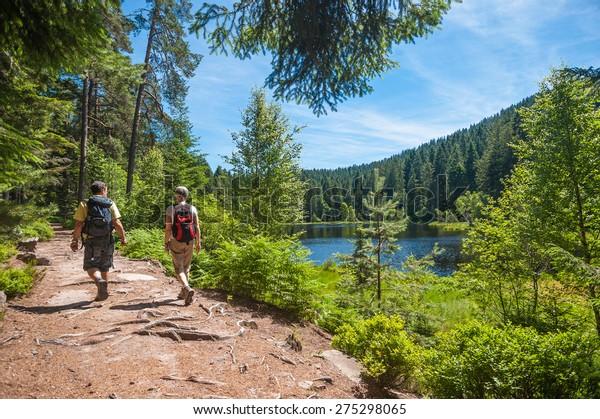 Wanderer auf dem Herrenwieser See, Westweg, Forbach, Schwarzwald, Baden-Württemberg, Deutschland, Europa
