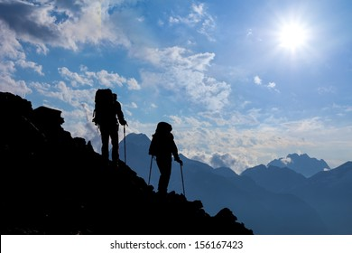hikers in a mountains