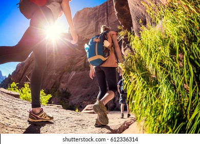 Hikers moving forward on the stone path in the Bryce Canyon National Park, USA