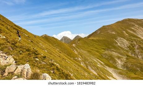 hikers on Museteica Ridge, Fagaras Mountains, Romania