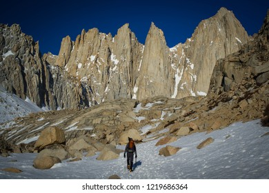 Hikers traveling up mount Whitney via the Mountaineers Route