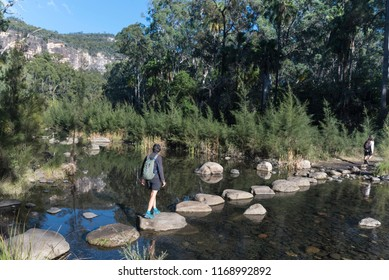 Hikers using stepping stones to cross the Carnarvon River in Carnarvon Gorge, Queensland, Australia.