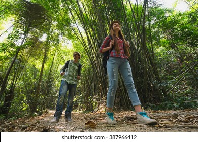 Hikers walking in the jungle. Travel concept.  Focus on the woman