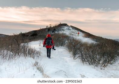 hikers in winter mountains,Fantastic winter landscape snow hill in korea