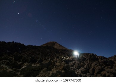 Hikes with headlamp on their Pico del Teide night ascent