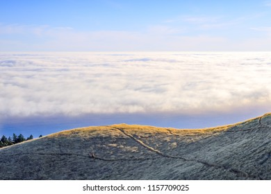 Hiking above the clouds in Mount Tamalpais. Marin County, California, USA.