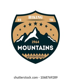 Hiking adventures vintage isolated badge. Outdoor expedition symbol, mountain and forest explorer, touristic extreme trip label illustration