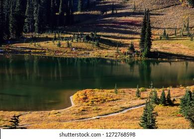Hiking Along Lake Tipsoo In Mt. Rainier National Park