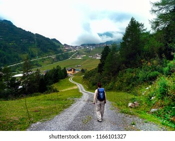 Hiking area. Austria. Landscape with a view of the village.