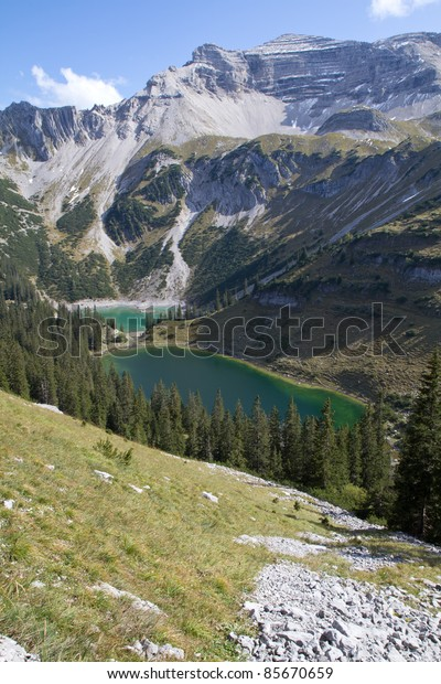 "Hiking in the bavarian alps, Germany, view to the ""Soiernspitze"" peak"