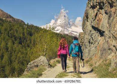 Hiking in the beautiful Alps, near Matterhorn and Zermatt, Switzerland, Europe 2017