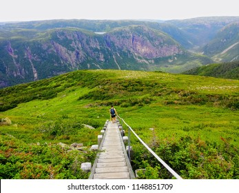Hiking in beautiful Gros Morne National Park atop Gros Morne Mountain in Newfoundland and Labrador, Canada