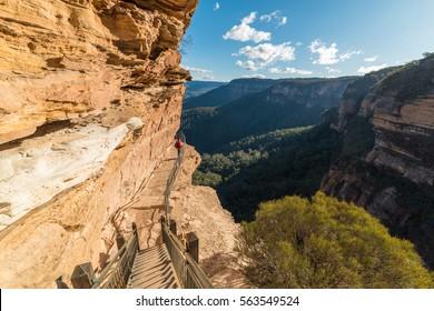 Hiking in Blue Mountain, Australia. Woman doing Wentworth Falls hiking track, enjoying the view