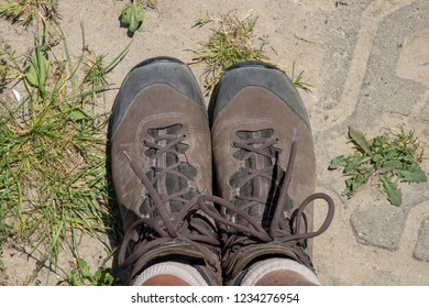 hiking boots from above